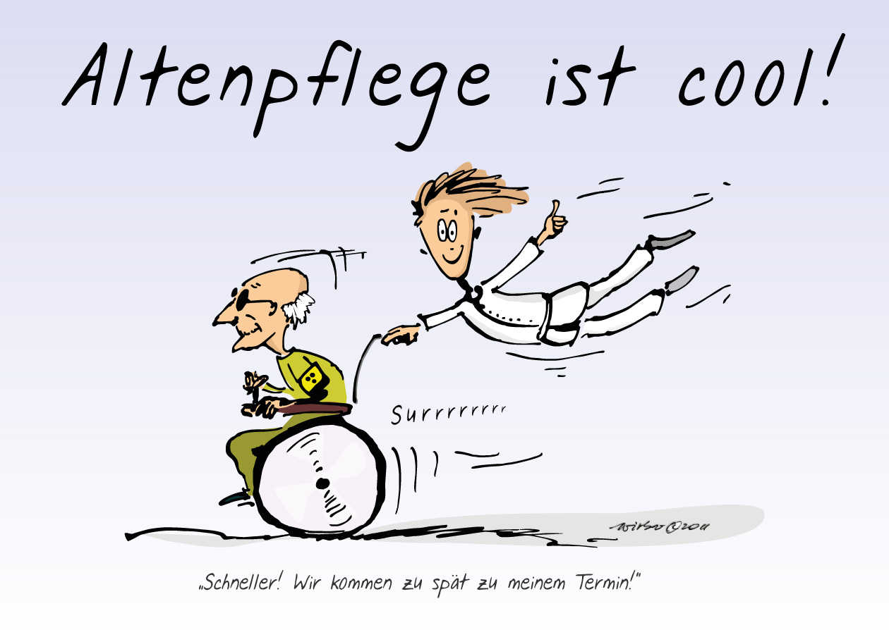 Cartoon zur Werbung für den Beruf des Altenpflegers