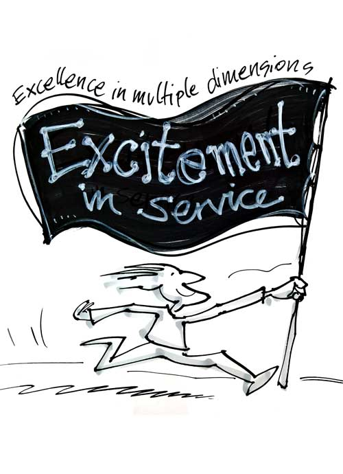 Zeichnung Excitement in Service