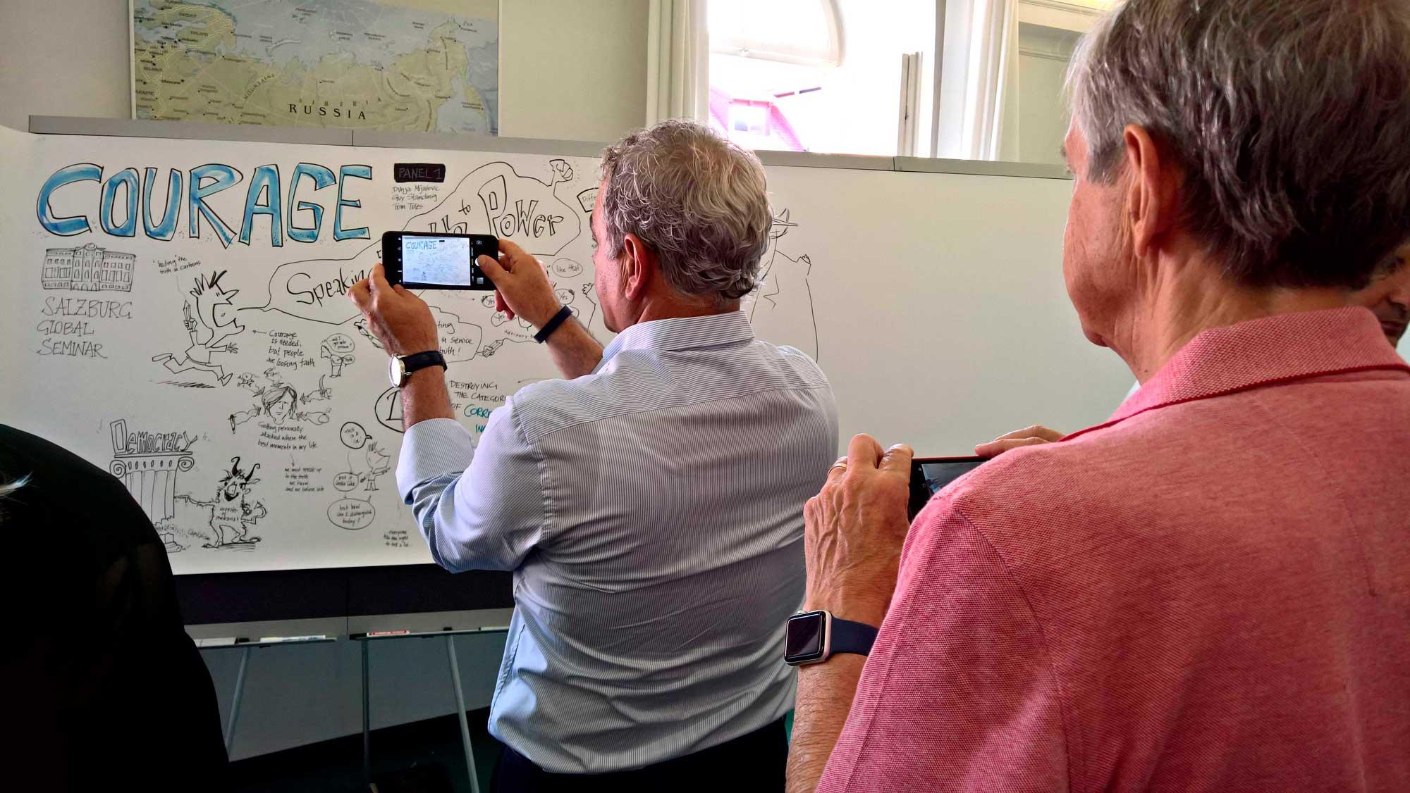 """Ein Graphic Recording für den """"Mut"""" beim Salzburg Global Seminar und ein dicker Donald Trump"""